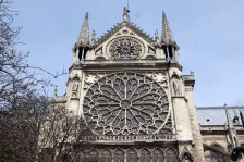 The south rose window of Notre Dame Cathedral seen from the outside