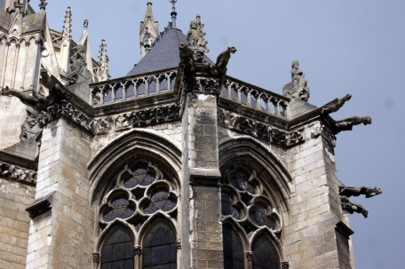 Gargoyles - decorative waterspouts - on the side of Amiens Cathedral, northern France.